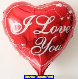 I love you yaz�l� kalp folyo balon 18 inc