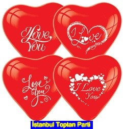 I love you lateks kalp balon k�rm�z�